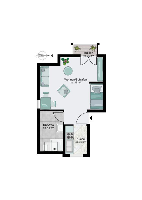 70435 stuttgart zuffenhausen wohnung betreutes wohnen in zentraler lage mit familiaerer. Black Bedroom Furniture Sets. Home Design Ideas